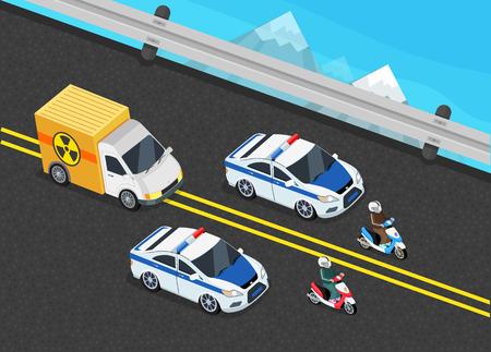 Isometrischen Polizei Autokolonne Auto wichtig toxische Belastung. 3D Polizeiwache, Lieferung Eskorte, 3d Polizist Motorrad, cortege Auto, toxische Sicherheit chemischen, LKW Lieferung Gefahr, Polizei Lagerung gefährlicher