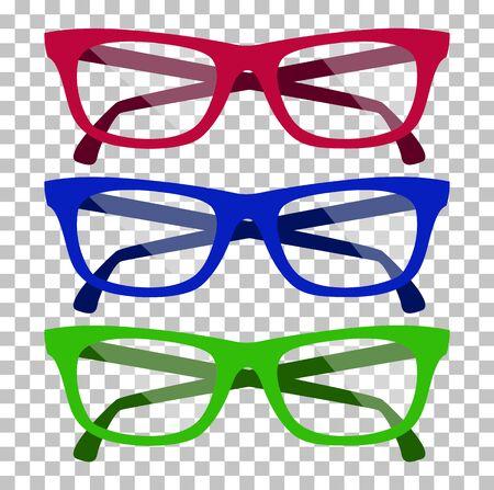 glasses icon: Classic glasses icon. Glasses isolated. Glasses model icons, man, women frames. Eyeglasses isolated. Hipster glasses. Club glasses. Office glasses. Metal framed geek glasses vintage. Vector glasses Illustration