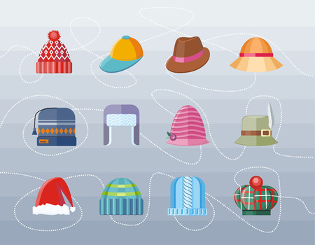 sombrero: Conjunto de la colección de diseño plana sombrero. Sombrero de la mujer, sombrero aislado, sombrero de la manera, sombrero de las señoras, moda sombrero, sombrero de accesorios desgaste ropa sombrero, sombrero de navidad, retro sombrero de la mujer del vintage, ejemplo elegancia sombrero