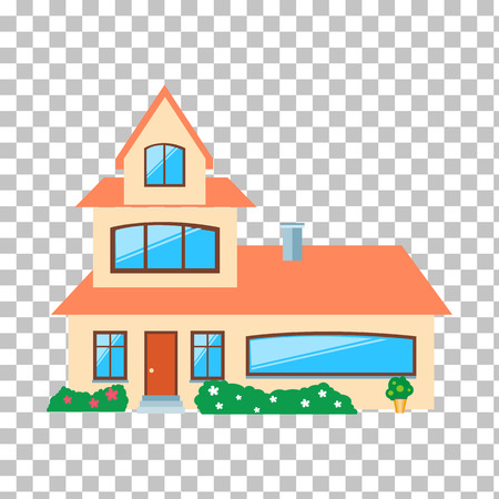 residential houses: Real estate concept. Small house. House icon. Isolated house. Home house in flat design style. Colorful residential houses. Home, building, house exterior, real estate,  family house, modern house Illustration