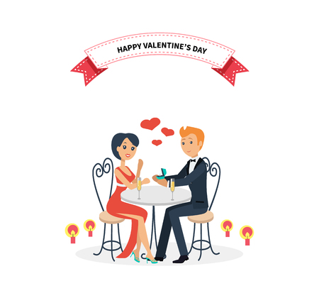 Happy valentine day couple sitting at table. Couple lover on valentine day, happy valentine, couple in love, young couple, love happy couple, woman man restaurant, holiday valentine day illustration Vettoriali