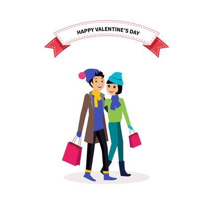 enamorados caricatura: d�a de San Valent�n pareja feliz de las compras. D�a de San Valent�n, la gente par, d�a de san valent�n feliz, pareja en el amor, joven pareja, el amor y la pareja feliz, d�a de San Valent�n rom�ntica ilustraci�n