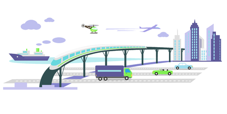 Concept of development of transport infrastructure icon flat. Car future growing, vehicle popularity, traffic automobile, aircraft and ship, autobahn and train, helicopter and road illustration