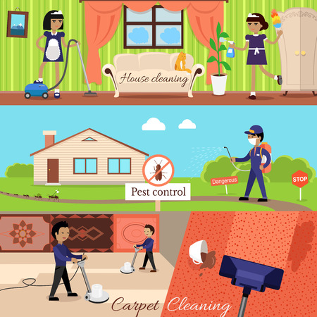 cleaning: House cleaning and pest control and cleaning carpet, housework and cleaner service, domestic cleaning work, housekeeping wash and cleaning, washing and housecleaning, disinfectant pests illustration