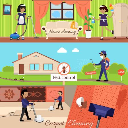 empleadas domesticas: Limpieza de la casa y el control de plagas y limpieza de alfombras, las tareas domésticas y de servicio del filtro, el trabajo de limpieza doméstica, la limpieza y lavado de la limpieza, el lavado y la limpieza de la casa, desinfectantes plagas ilustración Vectores