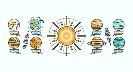 cosmo: Solar system icon flat design. Earth planet space and sun, science astronomy, galaxy and saturn, jupiter and venus, mars and mercury, uranus and neptune vector. Solar system showing planets around sun