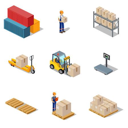 Icona 3d processo isometrica del magazzino. interno del magazzino, Logisti e la fabbrica, magazzino edificio, esterno del magazzino, la consegna di business, di stoccaggio merci illustrazione. Set di vettore isometrica Vettoriali