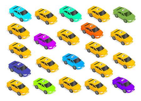 symbol yellow: Flat 3d isometric high quality car taxi. City service transport icon. Car taxi icon. Isometric taxi web infographic. Isometric taxi cab. Isometric taxi top view. Isometric yellow taxi. Yellow taxi cab