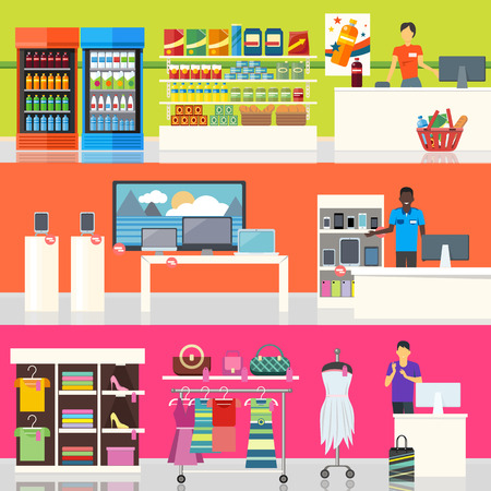 La gente en el supermercado de diseño de interiores. La gente de compras, compras del supermercado, la gente de marketing, departamento del mercado interior, los clientes en el centro comercial, ilustración tienda al por menor