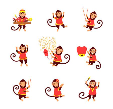dragon chinois: Cartes de Nouvel An avec le singe. Heureux Nouvel An chinois 2016. Nouvel An singe. singe zodiaque chinois. Année de singe 2016. salutations du Nouvel An chinois. Monkeys en arrière-plan chinois traditionnel. Année Singe
