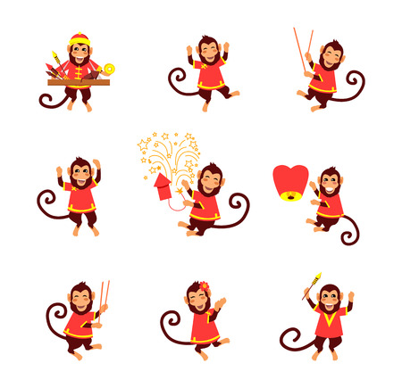 New Year card with monkey. Happy Chinese New Year 2016. New Year monkey. Chinese zodiac monkey. Year of monkey 2016. Chinese New Year greetings. Monkeys in traditional chinese background. Year Monkey