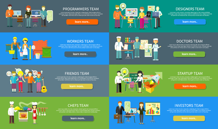 spirit: Work team people job concept flat design. Team work concept, team building, working together, team spirit, business job, people worker investor friend musician chefs doctor programmer illustration Illustration