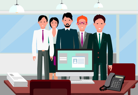 our company: Our success team linear design. Teamwork and business team, our team business, office team, business success, work people, company and leadership, businessman and worker, resource office illustration