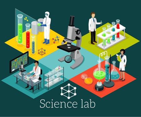 experimento: laboratorio de ciencias isomatric diseño plano. La ciencia y el científico, laboratorio de ciencias, laboratorio de química, la investigación científica, microscopio y experimento, prueba de laboratorio de ciencias químicas, tecnología de la ilustración