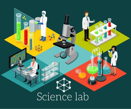 Laboratorium Nauka isomatric projektowania mieszkania. Nauka i naukowiec, laboratorium naukowe, chemia laboratorium, badania naukowe, mikroskop i eksperyment, laboratorium chemiczne testy nauka, technologia ilustracji