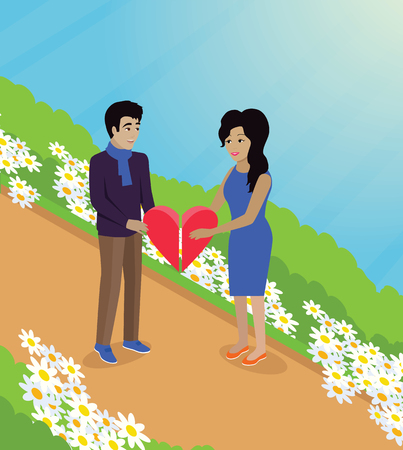 young relationship: Happy valentine day couple keep heart. Happy valentine, couple love, young couple, happy couple, woman hug man, couple happy, lover celebration valentine day, romantic relationship illustration Illustration