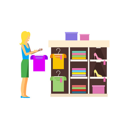 view an elegant wardrobe: Sale item handbags and clothing. Sale shopping, marketing and sale handbag, fashion clothing,  sale clothes dress, boutique handbag and clothing, sale dress, buy handbag goods garment illustration