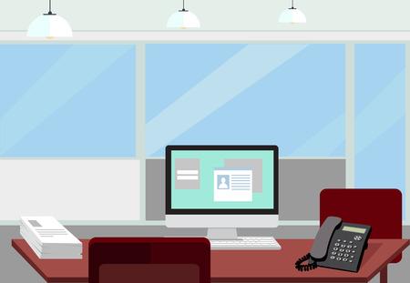 Moderne kantoor interieur met designer bureaublad in plat design. Interieur kantoor ruimte. Moderne kantoor ruimte. Kantoor ruimte. Vector illustratie van kantoor. Werkende plaats in het moderne kantoor interieur.