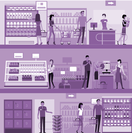 shopping people: People in supermarket interior design. People shopping, supermarket shopping, marketing people, market shop interior, customer in mall, retail store illustration