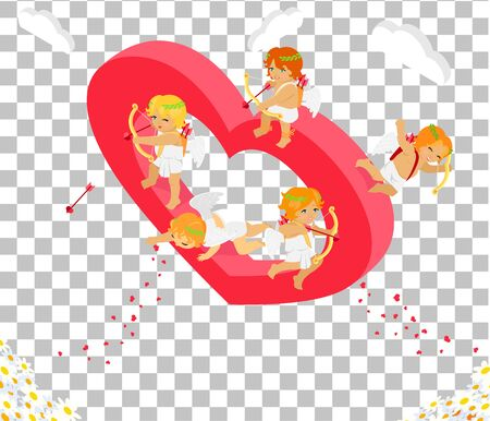 amour: Valentines day 3d isometric angels with bow. Valentines day, day valentine, love valentine heart, cupid valentine, celebration holiday valentine day, feeling valentine day amour. Valentine cupid
