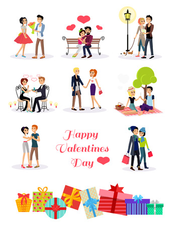 로맨스: 날짜 해피 발렌타인 데이 커플. 발렌타인 데이에 커플 연인, 행복한 발렌타인 데이, 사랑 젊은 부부 커플, 쇼핑 사랑 행복 한 커플, 여자가 남자 레스토랑, 휴일 발렌타 일러스트
