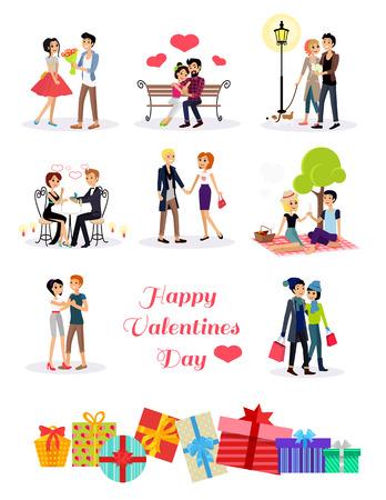romantik: Lyckliga valentin dag par på datum. Par älskare på valentin dag, lyckliga valentin, förälskat par ungt par, shopping kärlek lyckliga paret, kvinna man restaurang, semester Alla hjärtans dag man ge blomma Illustration