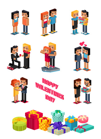 happy couple: Happy valentine day couple 3d isometric. Valentines day, happy valentine, young couple, happy couple, valentine couple in love, isometric 3d couple people, romantic relationship lover man give flower