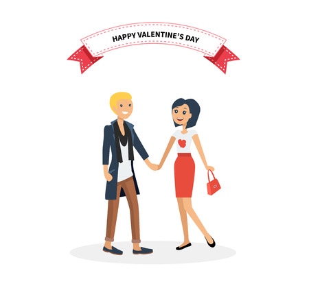 happy couple: Happy valentine day couple on date. Man hold woman. Valentine and day, couple and valentines day, happy valentine, couple in love, young couple, love and happy couple, flower and event illustration