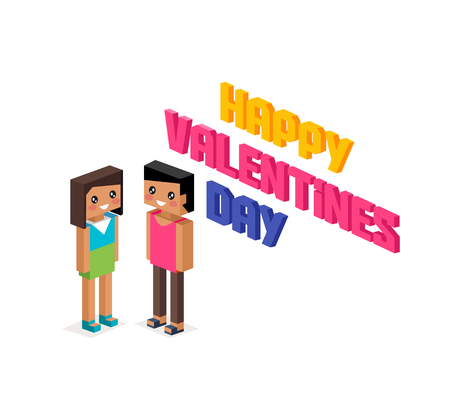 young relationship: Happy valentine day couple 3d isometric. Valentines day, happy valentine, young couple, happy couple, valentine couple in love, isometric 3d couple people, romantic relationship lover illustration