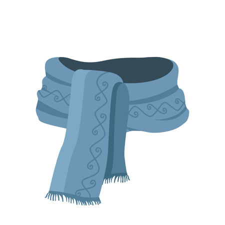 cold cartoon: Striped scarf isolated icon. Striped scarf isolated on white. Striped scarf. Scarves icon. Scarf icon. Winter scarf. Cartoon striped scarf. Vector illustration Illustration