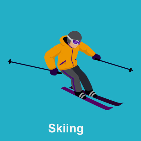 downhill skiing: People skiing flat style design. Skis isolated, skier and snow, cross country skiing, winter sport, season and mountain, cold downhill, recreation lifestyle, activity speed extreme illustration
