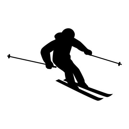Mensen skiën vlakke stijl design. Ski's geïsoleerde, skiër en sneeuw, cross country skiën, wintersport, het seizoen en de bergen, koude bergaf, recreatie lifestyle, activiteit snelheid extreem. Zwart op wit