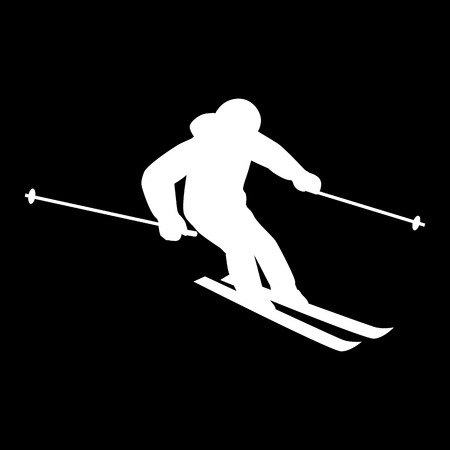 cross country skiing: People skiing flat style design. Skis isolated, skier and snow, cross country skiing, winter sport, season and mountain, cold downhill, recreation lifestyle, activity speed extreme. White on black