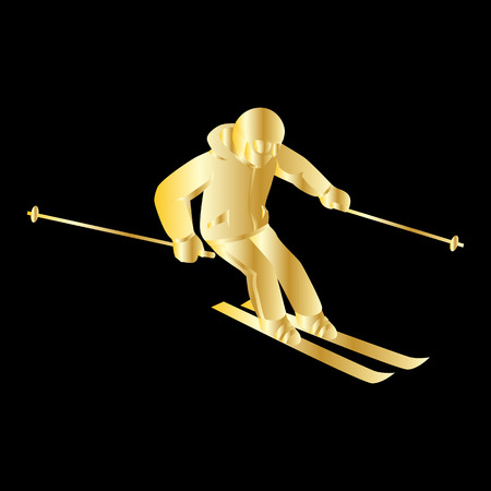 downhill skiing: People skiing flat style design. Skis isolated, skier and snow, cross country skiing, winter sport, season and mountain, cold downhill, recreation lifestyle, activity speed extreme. Gold on black Illustration