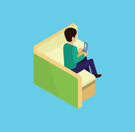tablet: Man sitting on couch isomertic icon isolated. Man sitting, couch or sofa, adult person man relaxation, comfortable couch, guy resting, couch furniture, man with tablet, man relax on couch illustration Illustration