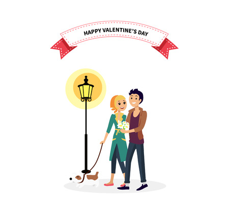 walk: Happy valentine day couple walk with dog. Man woman couple with dog, valentines day, couple in love, happy valentine, happy couple, young couple, love people, romantic couple with pet illustration