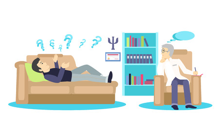 psychiatrist: Psychologist concept icon flat isolated. Mental psychology problem, health and psychiatrist, human mind, medical stress, people, issue talking, depression and therapy illustration