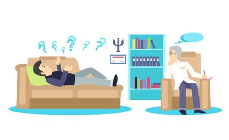 Psycholoog concept pictogram plat geïsoleerd. Geestelijke psychologie probleem, gezondheid en psychiater, menselijke geest, medische stress, mensen, kwestie praten, depressie en therapie illustratie