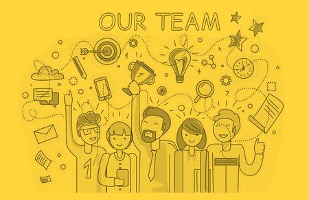 trabajadores: Nuestro equipo de éxito de diseño lineal. El trabajo en equipo y el equipo de negocios, nuestro negocio de equipo, equipo de oficina, el éxito del negocio, la gente de trabajo, la empresa y el liderazgo, el empresario y el trabajador, ilustración de la oficina de recursos