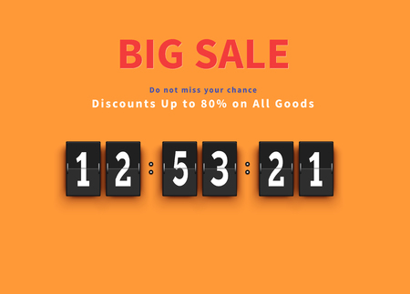 big timer: Opening soon. Big sale countdown. Sale big, discount and big savings, huge sale, sale banner, promotion shopping, countdown time, special bog sale, offer banner sale, retail banner timer illustration Illustration