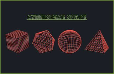 cyberspace: Abstract cyberspace geometric shapes. Cyberspace grid. 3d technology cyberspace grid. Technology cube square circle triangle computer graphic. Futuristic technology. Three-dimensional abstract vector