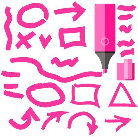 marker: elemento de línea de marcador ajustado diseño plano. Marcador y accidente cerebrovascular marcador, garabato líneas marcador, marcador de círculo, línea de lápiz, rotulador, trazo de la línea, pincel dibujado a mano, línea de marcador, dibujo a mano ilustración