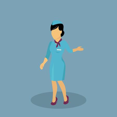 flight attendant: Profession icon stewardess design flat style. Flight attendant, air hostess, hostess person, stewardess professional, character woman stewardess, profession stewardess, uniform stewardess illustration Illustration