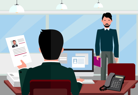 work office: Hiring recruiting interview. Look resume applicant employer. Hands Hold CV profile choose from group of business people. HR, recruiting, we are hiring. Candidate job position. Hire and interviewer Illustration