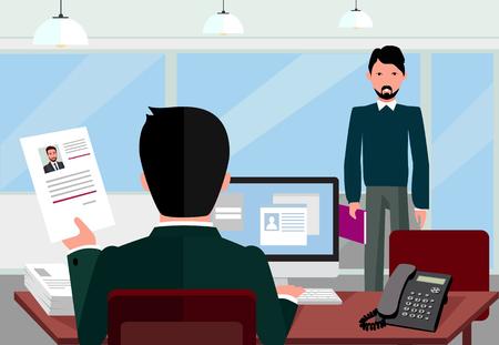 entrevista: La contratación de la entrevista de reclutamiento. Mira reanudar empleador solicitante. Las manos sostienen el perfil CV elegir grupo de personas de negocios. Recursos humanos, reclutamiento, estamos contratando. puesto de trabajo candidato. Contratar y entrevistador Vectores