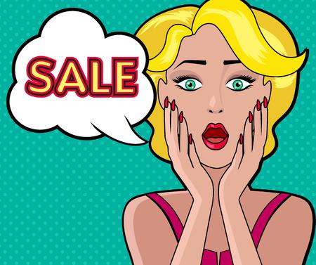 girl open mouth: Woman speech bubble sale design flat. Woman and speech, bubble, sale and woman shopping, comic female, art girl, vintage speech bubble, cartoon woman, retro beauty woman, open mouth sale illustration