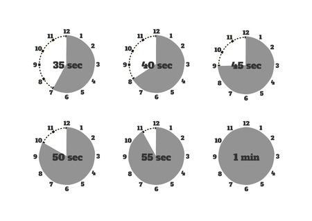 second hand: Set of time second stopwatch design flat. Clock and stopwatch icon, time and stopwatch hand, watch and stopwatch minute, second time, timer instrument, equipment stopwatch illustration Illustration