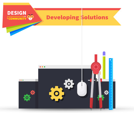 developing: Developing solution design flat. Solution and developing, software development, development icon, web development, construction development, web solution developing, innovation art illustration Illustration