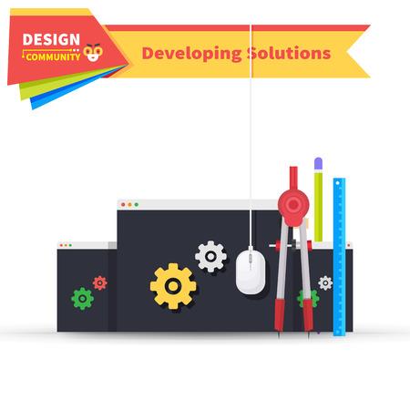software solution: Developing solution design flat. Solution and developing, software development, development icon, web development, construction development, web solution developing, innovation art illustration Illustration