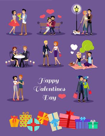 浪漫: 快樂情人節情侶的日期。在情人節情侶情人,情人節快樂,夫婦在愛年輕夫婦,購物愛幸福的情侶,女人男人飯店,情人節男人給花